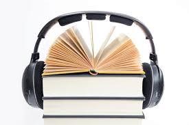 Obrázek knihy se sluchátky.