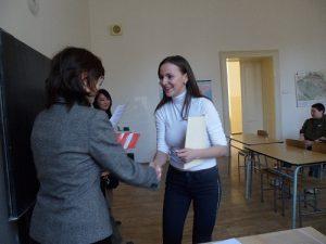 Předávání cen vítězům krajského kola Konverzační soutěže v ruském jazyce