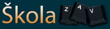 Logo školy ZAV - psaní na klávesnici.