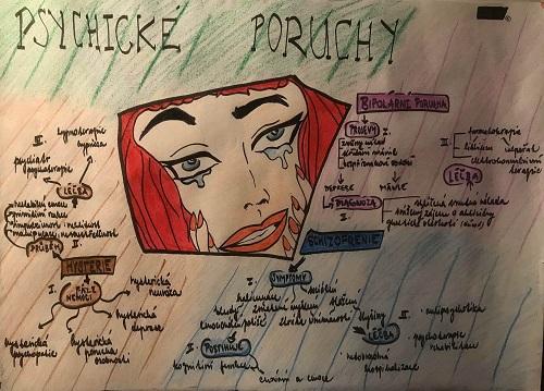 Myšlenková mapa - psychické poruch, náhledový obrázek.