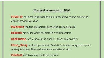 """Ukázka práce žáka """"Slovíčka - koronavirus"""""""