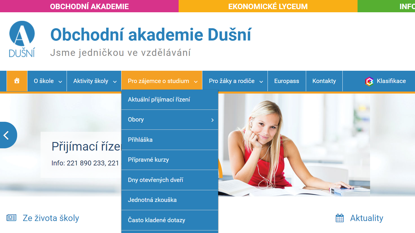 Informace o přijímacím řízení na webu školy